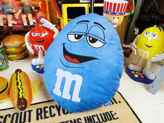 m&m'sクッション(ブルー)★アメリカ雑貨★アメリカン雑貨★アメキャラ