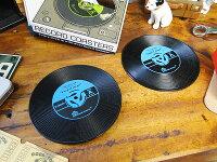 レコードコースター2枚セット(ブルー)★アメリカ雑貨★アメリカン雑貨