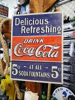 コカ・コーラブランド5セント・ソーダファウンテンのブリキ看板★コカコーラグッズ雑貨グッズブランドCoca-Colaアメリカ雑貨アメリカン雑貨