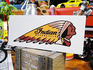 ノスタルジック・ガレージステッカー(インディアン/チーフロゴ) ■ 自分仕様だから愛着も強くなる! 世田谷ベース 人気のアメリカ雑貨屋 おしゃれ おもしろ アメリカン雑貨 車 バイク
