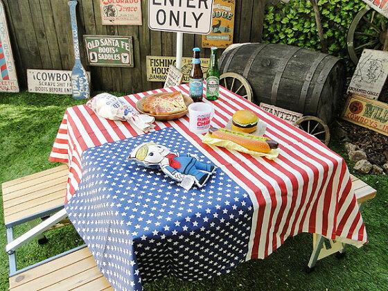 星条旗のテーブルクロス(ホワイト)★アメリカ雑貨★アメリカン雑貨★ティッシュケース