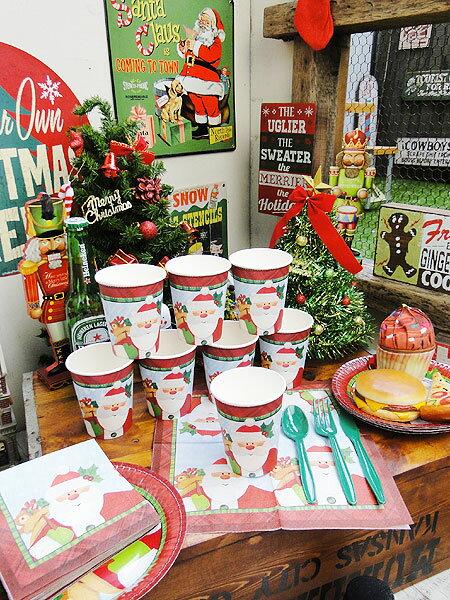 クリスマスのペーパーカップ8個セット(サンタクロース)★パーティーグッズ★アメリカ雑貨★アメリカン雑貨