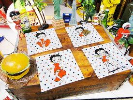 ベティ・ブープのガラスプレート 4枚セット(ホワイト) ■ アメキャラ アメコミ アメリカン雑貨 アメリカン雑貨 人気のアメリカ雑貨屋 おもしろ ベティちゃん グッズ ベティ・ブープ
