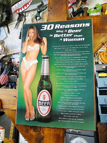 ビールが女よりイイ30の理由のウッドボード★アメ雑★アメリカ雑貨★アメリカン雑貨