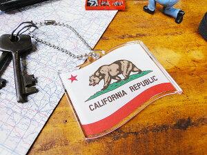 カリフォルニア州旗のアクリルキーリング ■ アメリカ雑貨 アメリカン雑貨 キーホルダー おしゃれ メンズ キーリング 鍵 人気のアメリカ雑貨屋 アメキャラ かわいい ファッション