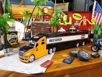 マイストハーレーダビッドソンのコンボイトレーラーのミニカー1/64スケール(オレンジヘッド)■ミニカーアメ車アメリカ雑貨アメリカン雑貨アメリカ雑貨小物モデルカー正規品