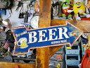 「生ビールあります」のハンギングアローサイン ■ サインプレート ブリキ看板 アメリカ看板 ティンサイン サインボード アメリカ 看板 アメリカ雑貨 アメリカン...