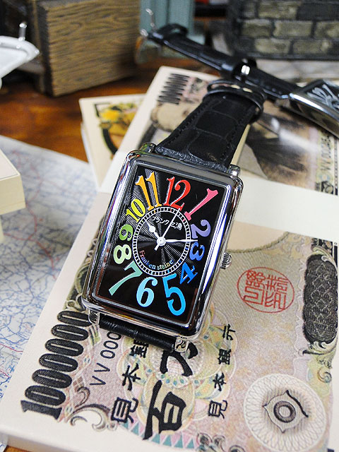 天才時計師フランク三浦の腕時計 初号機(改)通常サイズ(レインボーブラック) ■ アメリカ雑貨 アメリカン雑貨 おもしろ雑貨 おもしろグッズ 人気 おしゃれ 腕時計 メンズ 黒 通販 ウォッチ