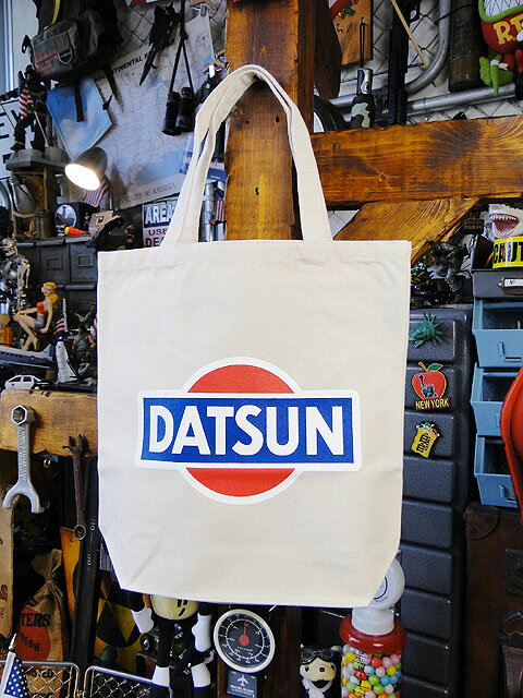 ダットサンのトートバッグ(ホワイト) ■ アメリカ雑貨 アメリカン雑貨 アメカジ 鞄 メンズ バッグ おしゃれ