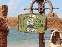 船乗り達の宿セーラークラブの木製看板■アメリカ雑貨アメリカン雑貨