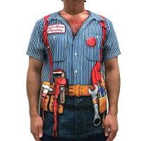 おもしろ変装TシャツフォーリアルTシャツ(マリオブラザースでおなじみの配管工)■アメリカ雑貨アメリカン雑貨