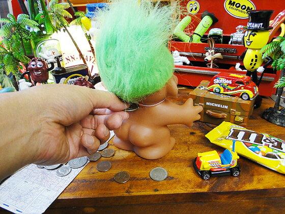 トロール人形バンク(グリーン)■アメリカ雑貨アメリカン雑貨アメキャラ貯金箱