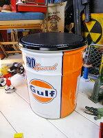 世田谷ベースで所さんが座ってるあのガルフのオイル缶スツール(タイプ1/オレンジ)■アメリカ雑貨アメリカン雑貨