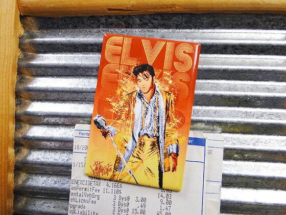 ミュージシャン&映画スターのマグネットシート(エルヴィス・プレスリー/ゴールドラメ)■アメリカ雑貨アメリカン雑貨