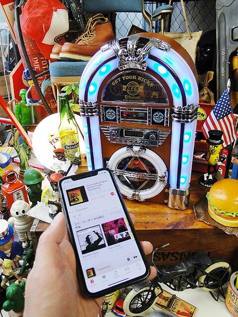 【全国送料無料】オールディーズジュークボックスCDプレーヤーBluetooth搭載iPhone/iPad/iPod/各種スマホ対応(ブルー)■楽天1位アメリカン雑貨アメリカ雑貨