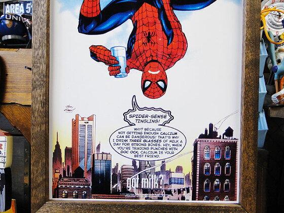 ポスターフレーム(スパイダーマン/ゴットミルク)■アメリカ雑貨アメリカン雑貨
