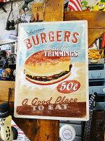 ハンバーガーのエンボス・ティンサインL■サインプレートブリキ看板ティンサインサインボード看板アメリカ雑貨アメリカン雑貨インテリア雑貨グッズアメリカ通販人気おしゃれ壁掛け
