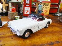 1957年シボレー・コルベットのダイキャストミニカー(ホワイト/ルーフ)■ミニカーアメ車アメリカ雑貨アメリカン雑貨アメリカ雑貨インテリアこだわり派が夢中になる人気のアメリカ雑貨屋小物モデルカー正規品