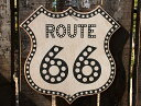 ルート66ロードサイドショップのウッドサイン(ルート66/ドット) ■ 木製 ウッド アメリカ 看板 サインプレート サイン…