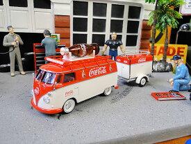 コカ・コーラ 1960年ワーゲンバス&トレーラーのダイキャストミニカー 1/43スケール