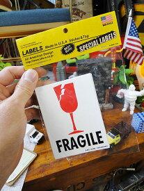 アメリカのパッキングラベル Mサイズ(割れ物注意/FRAGILE)単品1枚