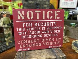 ドラレコ装着車に!ミリタリー・ヴィークル・セキュリティステッカーMサイズ(スクエア/レッド)ドライブレコーダー録画中ステッカー VSD-M13DR