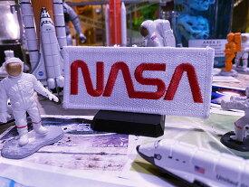 NASAワッペン(ワームロゴ/ホワイト&レッド)