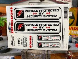 「盗難防止装置によって守られてます!」のステッカー(英語バージョン)