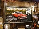 ルート66&シボレーベルエアーの木製看板 ■ ウッドサイン サインプレート アメリカ アンティーク 木製 ウッド 看板 …