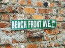 ビーチフロントアベニューのストリートサイン ■ アメリカ雑貨 アメリカン雑貨 ティンサイン サインボード アメリカン…