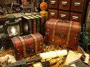 アナタだけの「お宝」を入れて下さい!アンティーク宝箱型ボックス 大小2個セット ■ アンティーク風木箱 木箱 小物入…