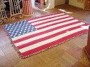 【全国送料無料】コットン100%で編み上げられた定番♪ 星条旗ラグマット・ホワイト(ジャイアント) ■ アメリカ雑貨 …