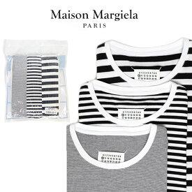 MAISON MARGIELA パックT メゾンマルジェラ Tシャツ ボーダー 半袖 メンズ Pack of 3 'Stereotype' T-shirts (961 OPTTIC WHITE)【S50GC0540-S22818】