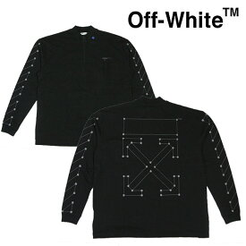 OFF-WHITE Tシャツ オフホワイト メンズ 長袖Tシャツ ポケT モックネック ハーフジップ DIAG BACKBONE ZIP MOCK NECK(BLACK × SILVER)【OMAB031E191850011091】