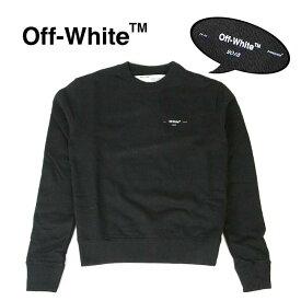 "OFF-WHITE スウェット オフホワイト メンズ スウェット長袖 ワンポイント OFF WHITE ""LOGO"" SLIM CREWNECK SWEATSHIRT (BLACK)【OMBA025E19D250191001】"
