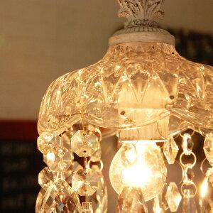 シャンデリアペンダントライト照明CrystallBellホワイト白プチシャンデリアアンティーク1灯ゴージャスクリアーリビングダイニング人気おしゃれ天井照明天井玄関トイレLEDクリスタル北欧カフェカフェ風シーリングライトロココロココ調ガラス