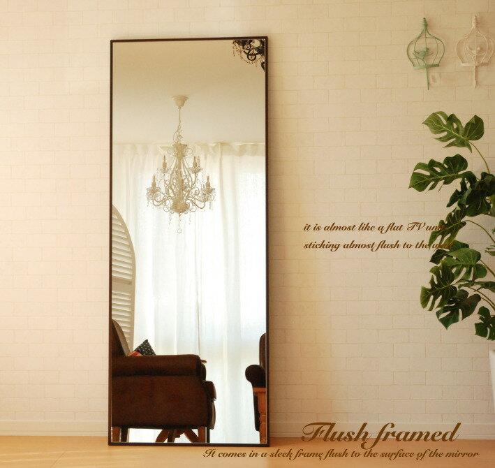 鏡 ミラー 壁掛け 全身 姿見 スリークフレームミラー フラット アンティーク ジャンボミラー 60×153cm 大型 細枠 ホワイト ブラウン 全身鏡 ウォールミラー スタンド スタンドミラー モダン 北欧 姫系 カフェ カフェ風 白 アンティーク風 おしゃれ 軽い 軽量 大型ミラー