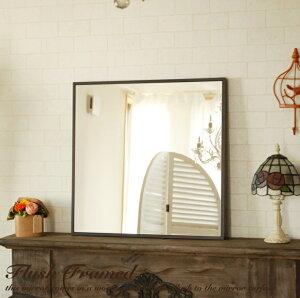 鏡壁掛けウォールミラーミラー52×52cm正方形スリークフレームミラーフラットアンティーク細枠ホワイトブラウン白卓上ドレッサーモダン北欧姫姫系カフェ風カフェおしゃれアンティーク風フレンチカントリー四角木製木可愛いアンティーク風