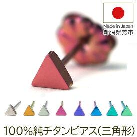 セカンドピアス チタン つけっぱなし 純チタン ピアス(三角)金属アレルギー 日本製 ポスト 軸太0.75mm 長さ10mm 全8色 全品1個ずつバラ売り 医療用 おすすめ かわいい シンプル 小さめ 人気 メンズ レディース