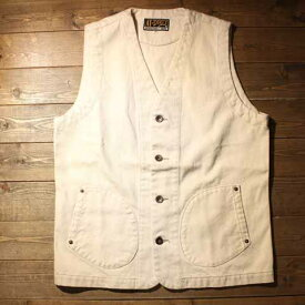 """AT-DIRTY""""WORKERS VEST""""IVORY【AT-DIRTY】(アットダーティー)正規取扱店(Official Dealer)Cannon Ball(キャノンボール)【あす楽対応/送料無料/ワークベスト/ワーカーズ/ベスト/ホワイトデニム】"""