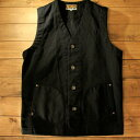 """AT-DIRTY""""WORKERS VEST""""BLACK【AT-DIRTY】(アットダーティー)正規取扱店(Official Dealer)Cannon Ball(キャノンボール)【あす楽対応/送料無料/ワークベスト/ワーカーズ/ブラックピケ/PICKET】"""