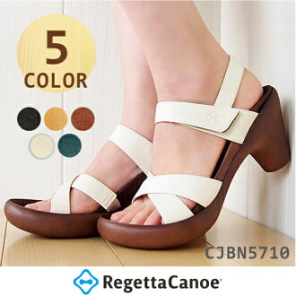 Canoe regatta Sandals / CJBN5710 / front cross fake leather banana heal Thunder / women's / heel / canoe Sandals / canoe regatta RegettaCanoe / dealer