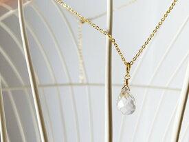 【大粒クリスタルクォーツAAA】ブリオレットカット・ネックレス(K16GP) 水晶 誕生石 天然石 ハンドメイドアクセサリー 高品質 宝石質 4月 シンプル 大人女子 無料ラッピング