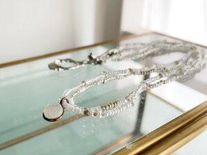 ネックレス ドゥルージークォーツ 2連ネックレス Necklace ハンドメイド アクセサリー シンプル ホワイト 普段使い 軽い トレンド 人気 おしゃれ ビーズネックレス