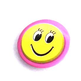 缶バッチ 可愛い缶バッチ パッチリおめめフェイスピンク缶バッチ ピンク フェイスデザイン缶バッチ アメリカンデザイン h-kb8