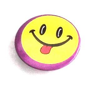 缶バッチ 可愛い缶バッチ スマイルフェイス缶バッチ パープル フェイスデザイン缶バッチ アメリカンデザイン h-kb19