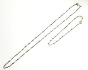 チェーンネックレス ブレスセット 撚り線チェーンデザイン シルバーカラー ショート デザイン系 h−n1014yy rr