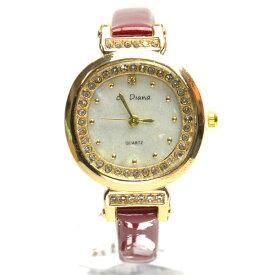 9def03774a 腕時計 電池式クォーツ レッド皮ベルト サークル盤面 ホワイト盤面 細ベルト ゴールドメッキ レディス