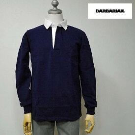 【2/23 23:59までポイント7倍】BARBARIAN(バーバリアン) DFS-01 メンズ レギュラーカラー長袖ラガーシャツ NAVY(ネイビー) S M Lサイズ
