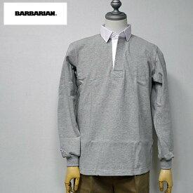 【1/20 23:59までポイント10倍】BARBARIAN(バーバリアン) DFS-03 メンズ レギュラーカラー長袖ラガーシャツ GRAY(グレー/アッシュ) S M Lサイズ